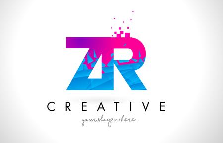ZR Z R Letter Logo with Broken Shattered Blue Pink Triangles Texture Design Vector Illustration.