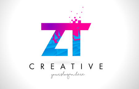 Kırık Yırtılmış Mavi Pembe Üçgenli Doku Desen Vektörlü ZT ZT Mektup Logo.