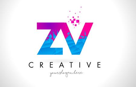 ZV Z V Letter Logo with Broken Shattered Blue Pink Triangles Texture Design Vector Illustration. Ilustrace