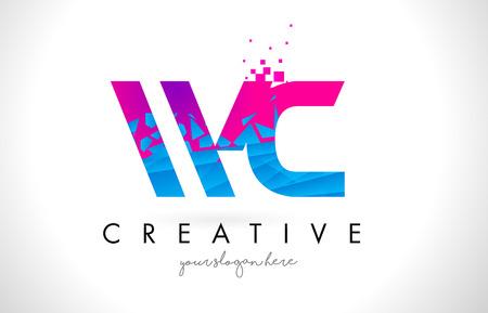 WC W C Letter Logo with Broken Shattered Blue Pink Triangles Texture Design Vector Illustration. Illustration