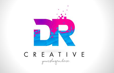 DR D R Letter Logo with Broken Shattered Blue Pink Triangles Texture Design Vector Illustration.
