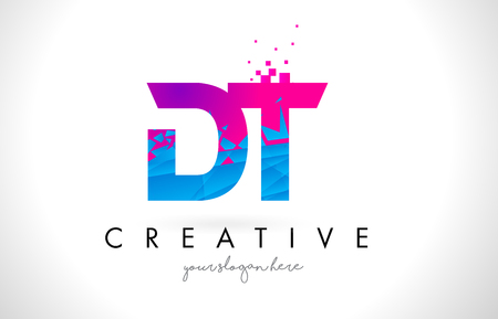 DT D T Letter Logo with Broken Shattered Blue Pink Triangles Texture Design Vector Illustration. Stock Vector - 77462539
