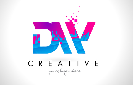 DW D W Letter Logo with Broken Shattered Blue Pink Triangles Texture Design Vector Illustration.