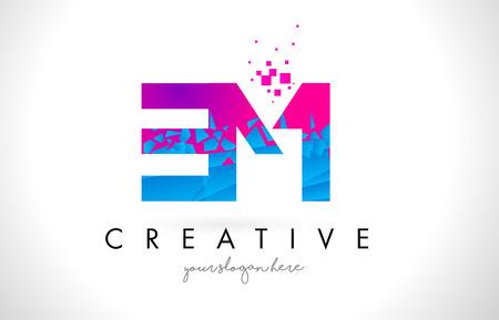 EM E M Letter Logo with Broken Shattered Blue Pink Triangles Texture Design Vector Illustration.