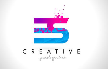 ES E S Letter Logo with Broken Shattered Blue Pink Triangles Texture Design Vector Illustration. Logó