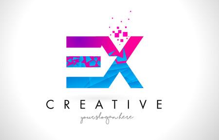 ex: EX E X Letter Logo with Broken Shattered Blue Pink Triangles Texture Design Vector Illustration. Illustration
