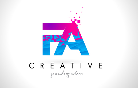FA F A Letter Logo with Broken Shattered Blue Pink Triangles Texture Design Vector Illustration.