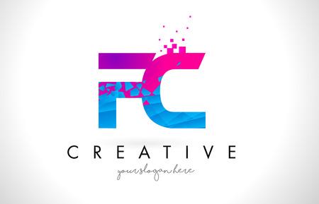 FC F C Letter Logo with Broken Shattered Blue Pink Triangles Texture Design Vector Illustration.