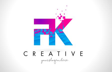 FK F K Letter Logo with Broken Shattered Blue Pink Triangles Texture Design Vector Illustration.