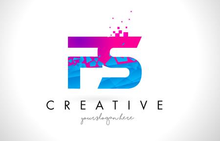 FS F S Letter Logo with Broken Shattered Blue Pink Triangles Texture Design Vector Illustration. Ilustração