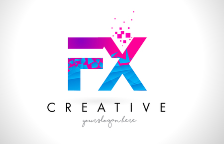 FX F X Letter Logo with Broken Shattered Blue Pink Triangles Texture Design Vector Illustration. Logo