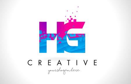HG H G Letter Logo with Broken Shattered Blue Pink Triangles Texture Design Vector Illustration.