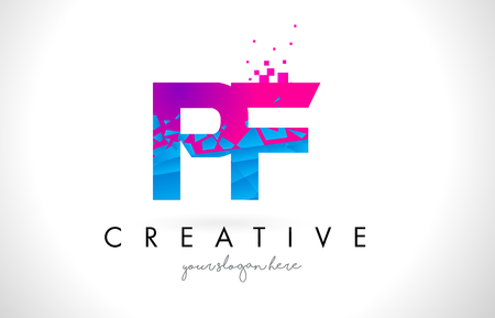 PF P F Letter Logo with Broken Shattered Blue Pink Triangles Texture Design Vector Illustration. Illustration