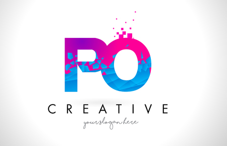 po: PO P O Letter Logo with Broken Shattered Blue Pink Triangles Texture Design Vector Illustration. Illustration
