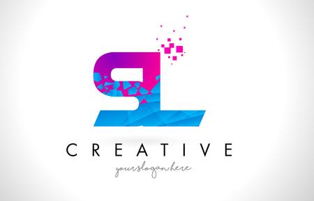 SL S L Letter Logo with Broken Shattered Blue Pink Triangles Texture Design Vector Illustration.