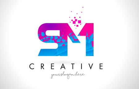 SM S M Letter Logo with Broken Shattered Blue Pink Triangles Texture Design Vector Illustration.