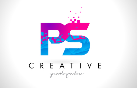PS P S Letter Logo with Broken Shattered Blue Pink Triangles Texture Design Vector Illustration.