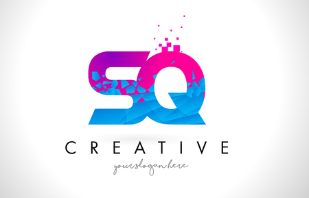 SQ S Q Letter Logo with Broken Shattered Blue Pink Triangles Texture Design Vector Illustration.