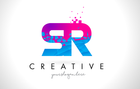 SR S R Letter Logo with Broken Shattered Blue Pink Triangles Texture Design Vector Illustration. Ilustrace