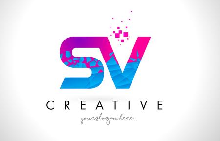 SV S V Letter Logo with Broken Shattered Blue Pink Triangles Texture Design Vector Illustration.