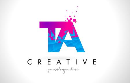 ta: TA T A Letter Logo with Broken Shattered Blue Pink Triangles Texture Design Vector Illustration. Illustration