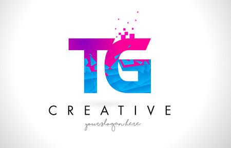 TG T G Letter Logo with Broken Shattered Blue Pink Triangles Texture Design Vector Illustration.