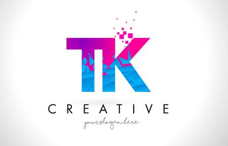 TK T K Letter Logo with Broken Shattered Blue Pink Triangles Texture Design Vector Illustration. Logó