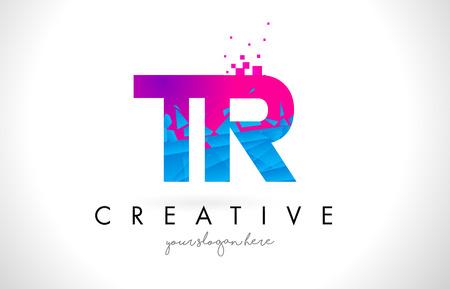 TR T R Letter Logo with Broken Shattered Blue Pink Triangles Texture Design Vector Illustration.