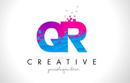 QR Q R Letter Logo with Broken Shattered Blue Pink Triangles Texture Design Vector Illustration.