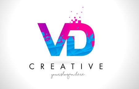 VD V D Letter Logo with Broken Shattered Blue Pink Triangles Texture Design Vector Illustration. Illustration