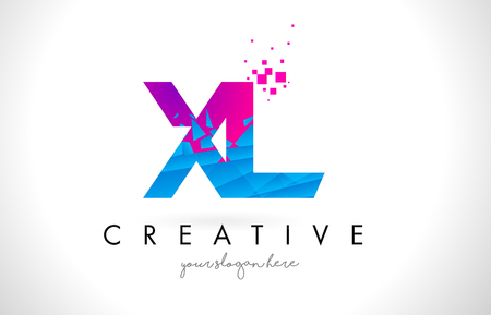 XL X L Letter Logo with Broken Shattered Blue Pink Triangles Texture Design Vector Illustration. Illustration