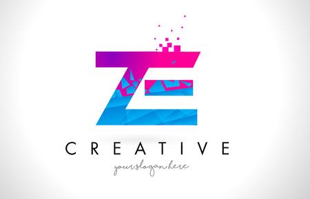 ze: ZE Z E Letter Logo with Broken Shattered Blue Pink Triangles Texture Design Vector Illustration. Illustration