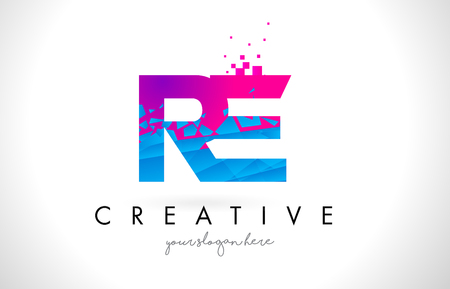 RE R E Letter Logo with Broken Shattered Blue Pink Triangles Texture Design Vector Illustration. Logo