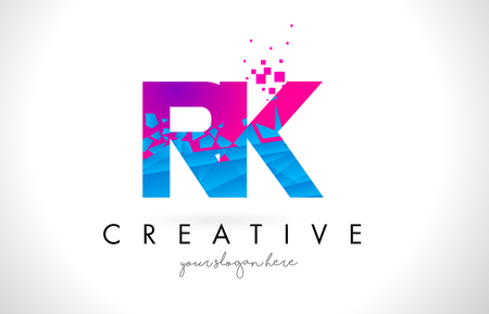 RK R K Letter Logo with Broken Shattered Blue Pink Triangles Texture Design Vector Illustration.