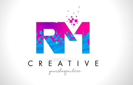 RM R M Letter Logo with Broken Shattered Blue Pink Triangles Texture Design Vector Illustration.