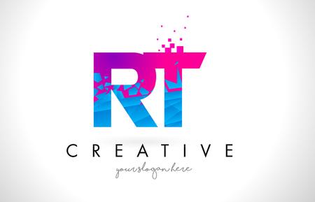 RT R T Letter Logo with Broken Shattered Blue Pink Triangles Texture Design Vector Illustration.