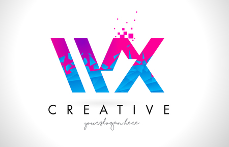 WX W X Letter Logo with Broken Shattered Blue Pink Triangles Texture Design Vector Illustration. Ilustrace