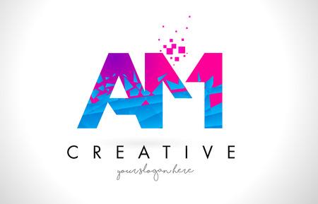 AM A M Letter Logo with Broken Shattered Blue Pink Triangles Texture Design Vector Illustration.