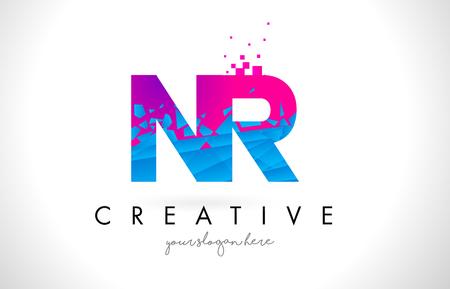 NR N R Letter Logo with Broken Shattered Blue Pink Triangles Texture Design Vector Illustration. Illustration