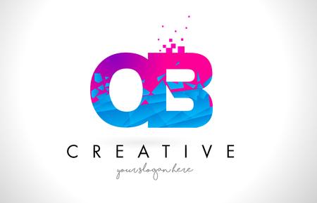 OB O B Letter Logo with Broken Shattered Blue Pink Triangles Texture Design Vector Illustration. Illustration