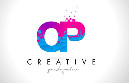 OP O P Letter Logo with Broken Shattered Blue Pink Triangles Texture Design Vector Illustration.