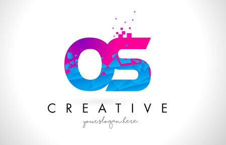 OS O S Letter Logo with Broken Shattered Blue Pink Triangles Texture Design Vector Illustration.