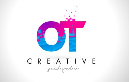 OT O T Letter Logo with Broken Shattered Blue Pink Triangles Texture Design Vector Illustration. Illustration