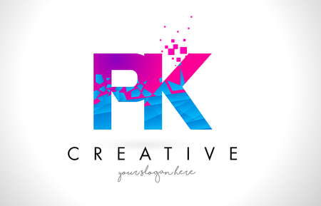 PK P K Letter Logo with Broken Shattered Blue Pink Triangles Texture Design Vector Illustration.