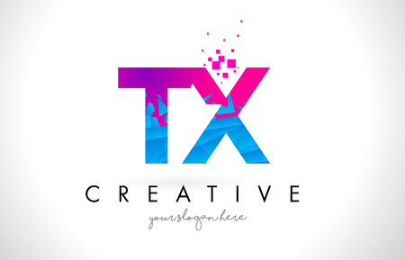 tx: TX T X Letter Logo with Broken Shattered Blue Pink Triangles Texture Design Vector Illustration. Illustration