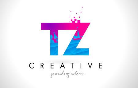 TZ T Z Letter Logo with Broken Shattered Blue Pink Triangles Texture Design Vector Illustration. Logó