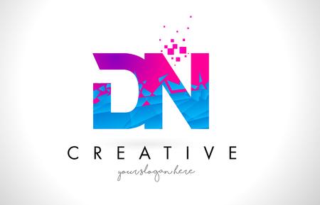 DN D N Letter Logo with Broken Shattered Blue Pink Triangles Texture Design Vector Illustration.