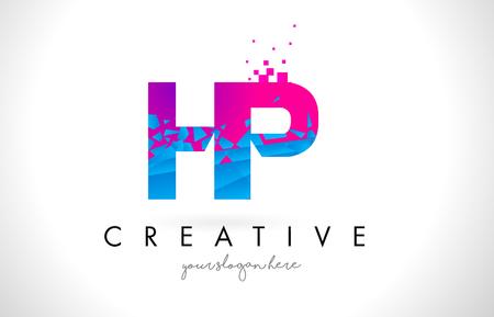 HP H P Letter Logo with Broken Shattered Blue Pink Triangles Texture Design Vector Illustration.