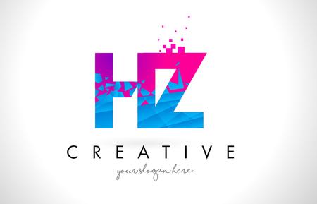 HZ H Z Letter Logo with Broken Shattered Blue Pink Triangles Texture Design Vector Illustration.
