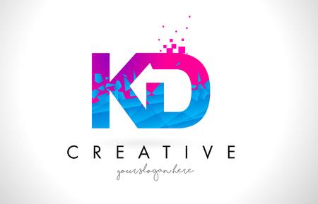 KD K D Letter Logo with Broken Shattered Blue Pink Triangles Texture Design Vector Illustration.